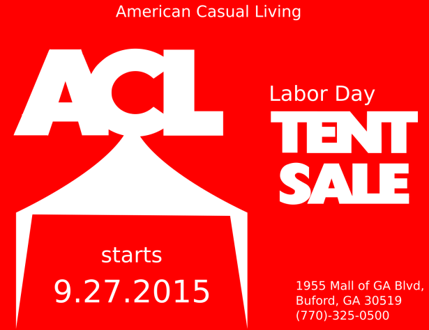 Be sure to stop by for our annual Labor Day Tent Sale! Limited time only! Hours are: Monday-Saturday: 10:00 to 8:00 Sunday: 12:00 to 6:00